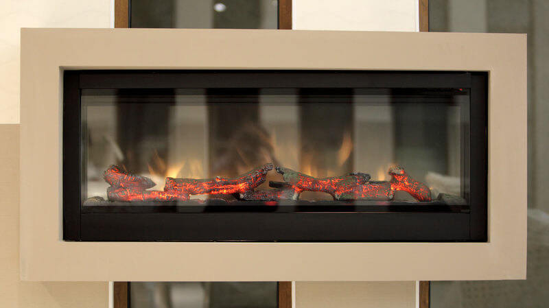 Floating electric Fireplace with cream surround