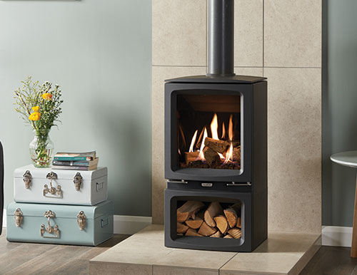 Gazco Vogue-Midi gas stove with black glass interior