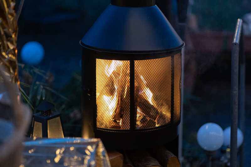 Outdoor wood burning stove