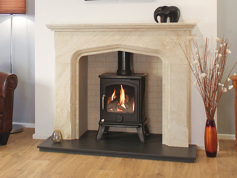 Newman Morela limestone fireplace