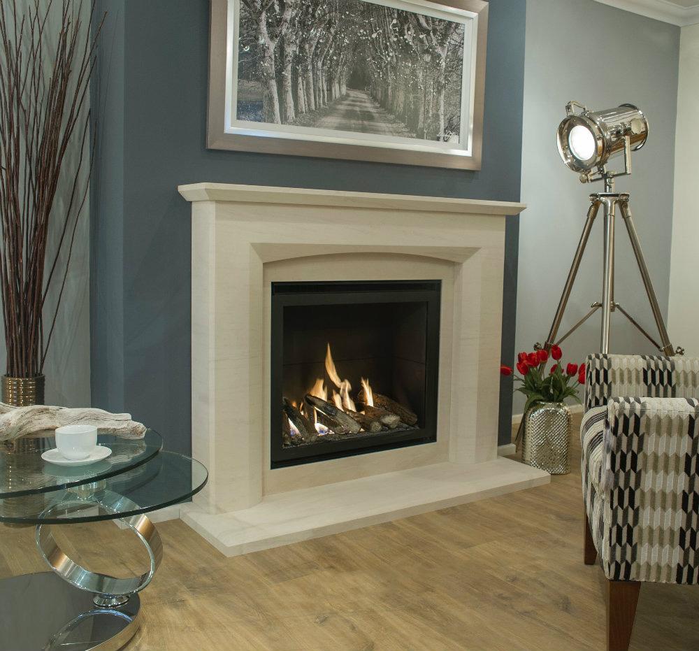 Newman Mereta limestone fireplace